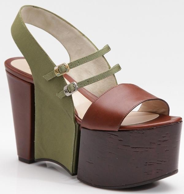 Fendi Colorblock Platform Slingback Sandals