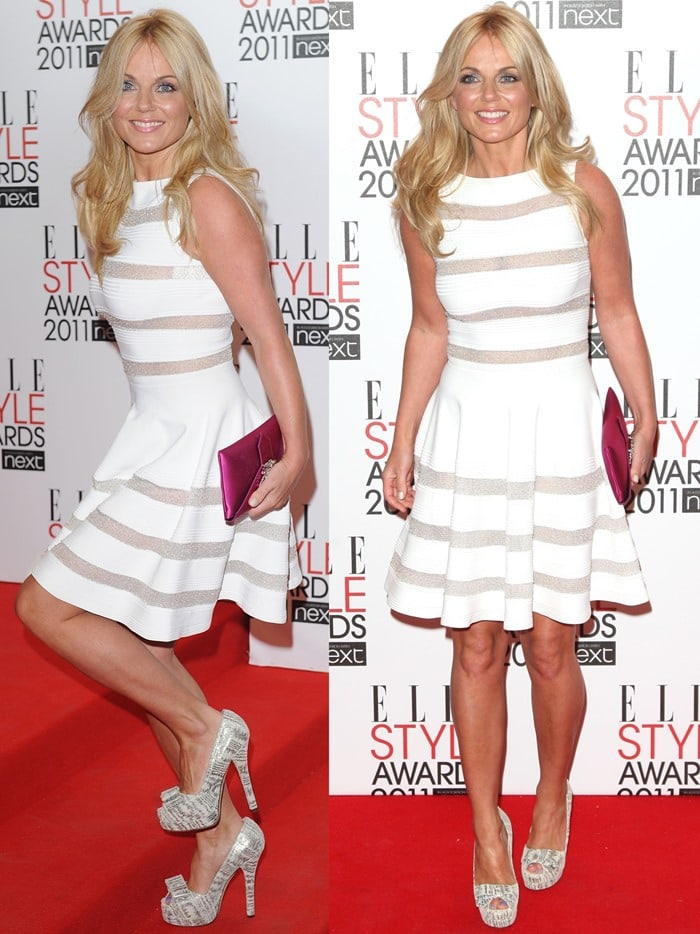 Geri Halliwell wears a white Azzedine Alaïa dress on the red carpet
