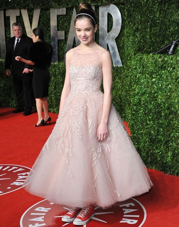 Hailee Steinfeld styles her custom-made Marchesa gown with a pair of Chuck Taylor sneakers