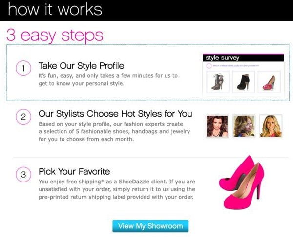 ShoeDazzle is a personalized styling service