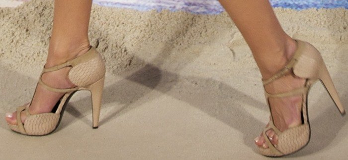 Jennifer Aniston wore these Pierre Hardy snakeskin-embossed nude t-strap platform sandals