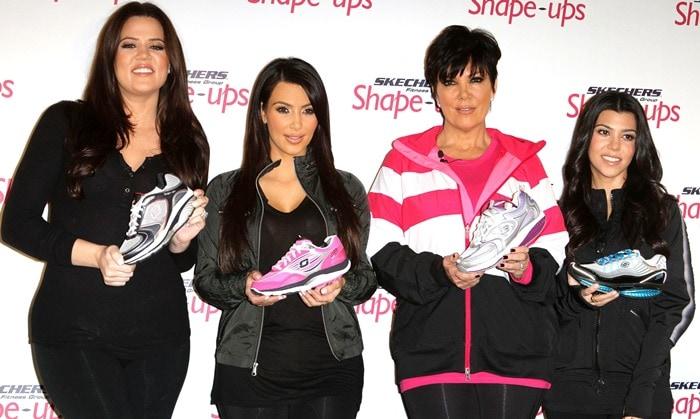 Kourtney Kardashian, Kim Kardashian, Kris Jenner and Khloe Kardashian at Skechers Shape-Ups Announces Global Partnership With Kardashian sisters and Kris Jenner