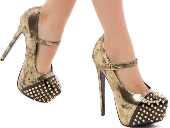 'Shanna' Embellished Toe Pumps Gold