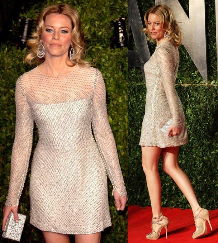 Elizabeth Banks flaunted her endless legs in a Versace Vintage long sleeve dress