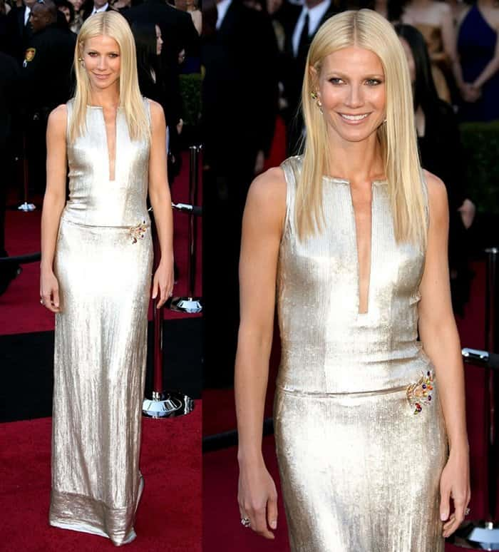 Gwyneth Paltrow wearing a Calvin Klein dress at the 2011 Oscars red carpet