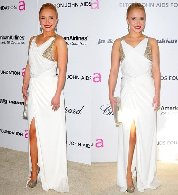 Hayden Panettiere wearing a white dress with metallic Jimmy Choo platform pumps.