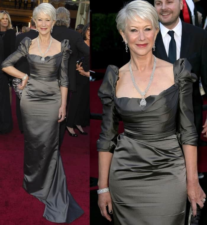 Dame Helen Mirren in a Vivienne Westwood Couture gown and Sergio Rossi sequined platform pumps
