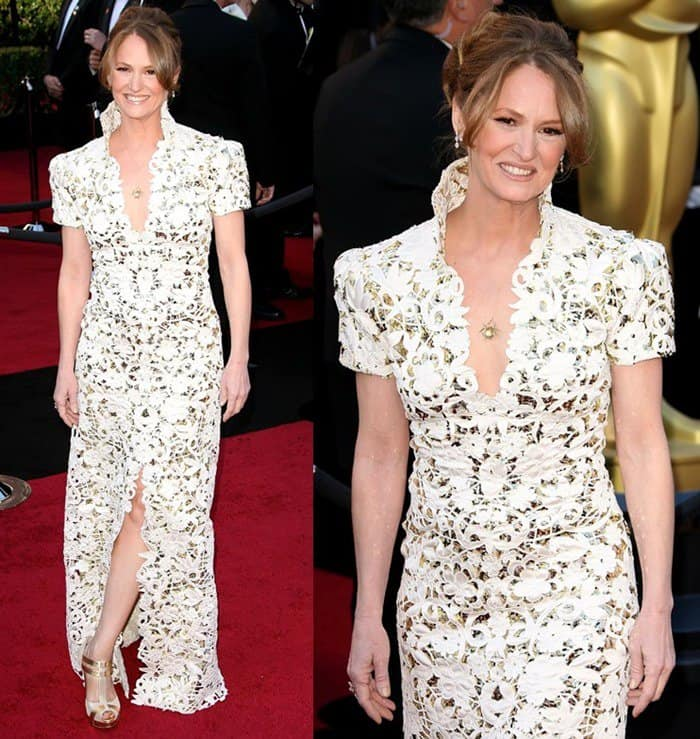 Melissa Leo attends the 2011 Academy Awards in a Marc Bouwer dress