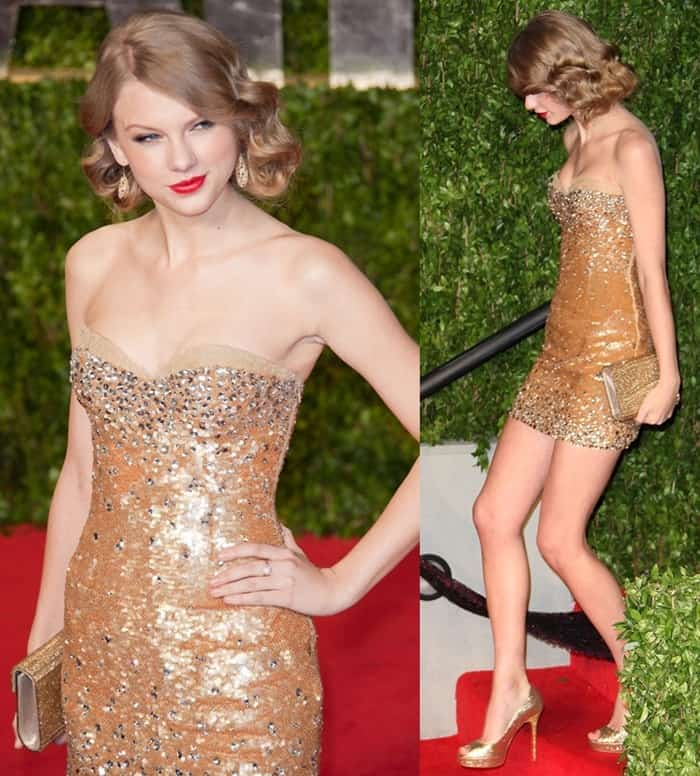 Taylor Swift attended the 83rd Annual Academy Awards in a gorgeous sequined strapless dress
