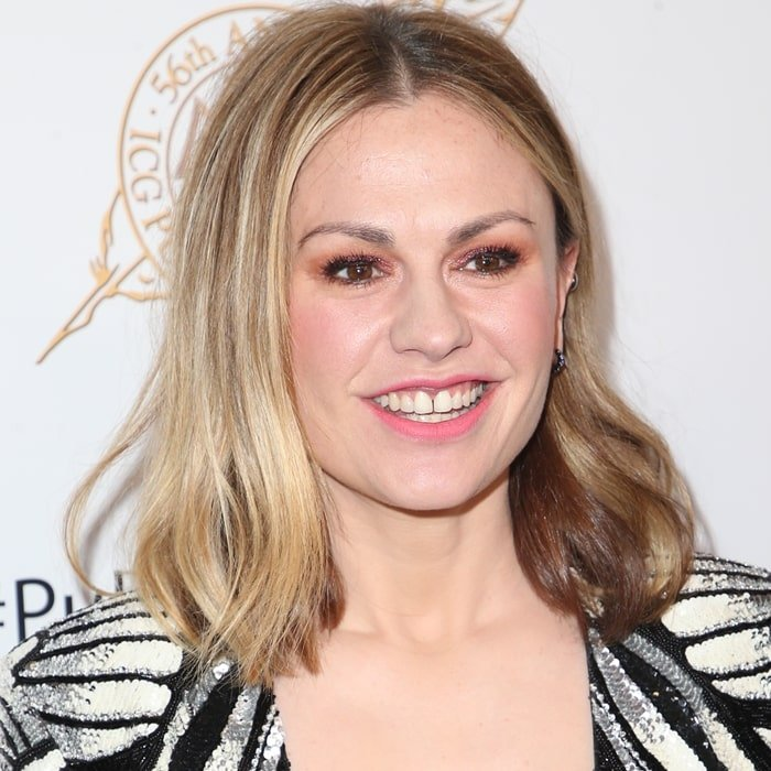 Anna Paquin shows off her teeth at the 2019 Cinematographers Guild Publicists Awards