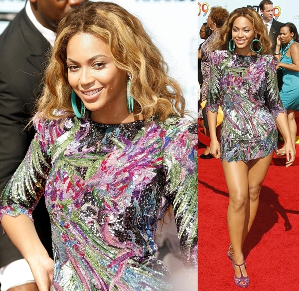 Beyonce Knowles wearing a Balmain 2009 sequin mini dress at the 2009 BET Awards held at the Shrine Auditorium in Los Angeles, on June 28, 2009