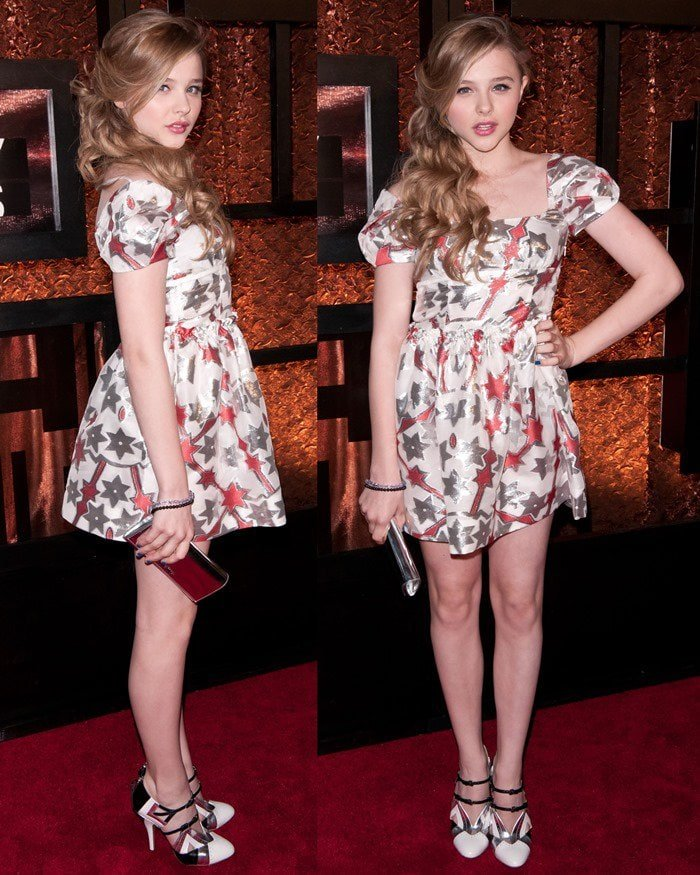 Chloe Moretz in a metallic star print baby doll dress and tri-color Mary Janes