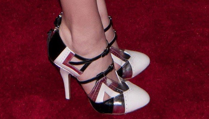 Chloe Moretz's Miu Miu black and white double-buckle Mary Jane pumps