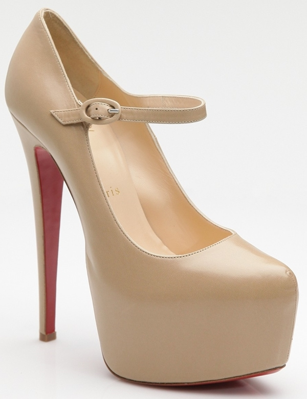 Christian Louboutin Lady Daf Platform Mary Jane Pumps in Nude