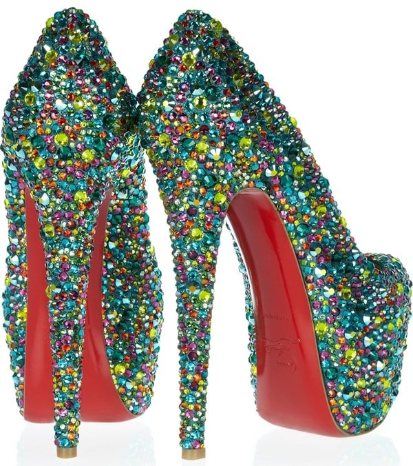 Christian Louboutin Multicolor Daffodile 160 Crystal embellished Leather Pump