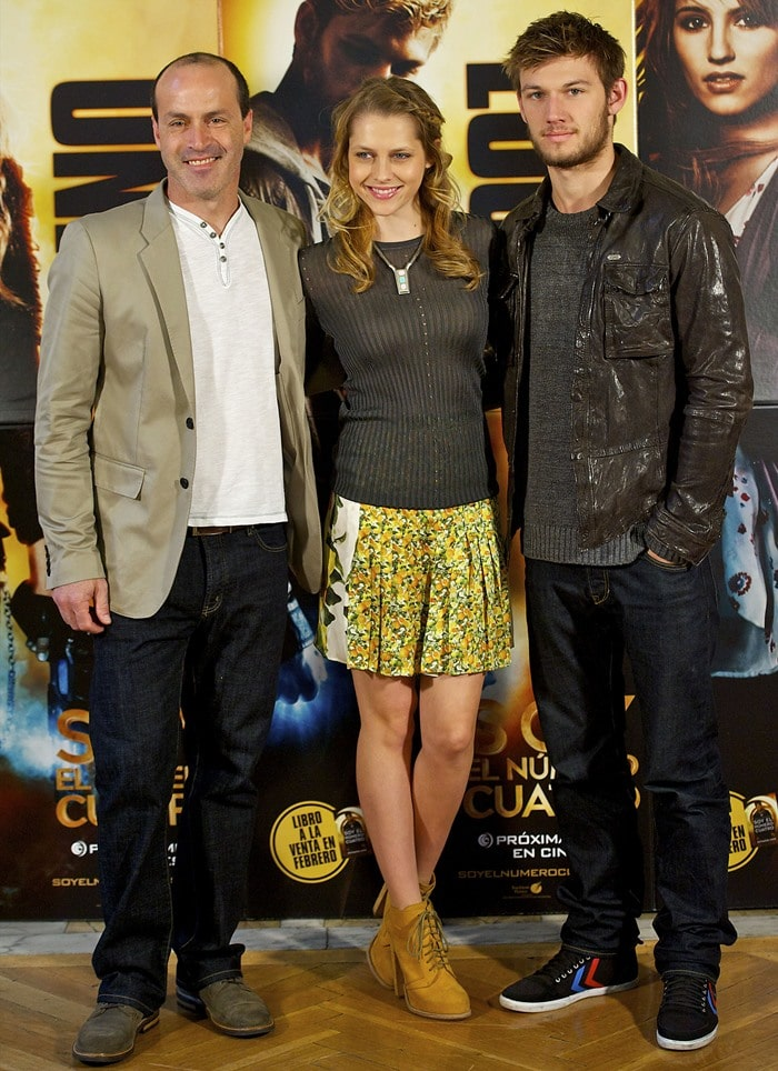 """Daniel John Caruso, Teresa Palmer and Alex Pettyfer attend the""""I Am Number Four"""" (Soy el Numero Cuatro) photocall held at Santo Mauro Hotel in Madrid, Spain on March 16, 2011"""