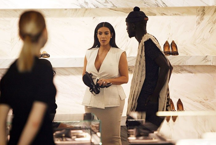 Kim Kardashian shopping at a boutique in Paris, France, on July 21, 2015.
