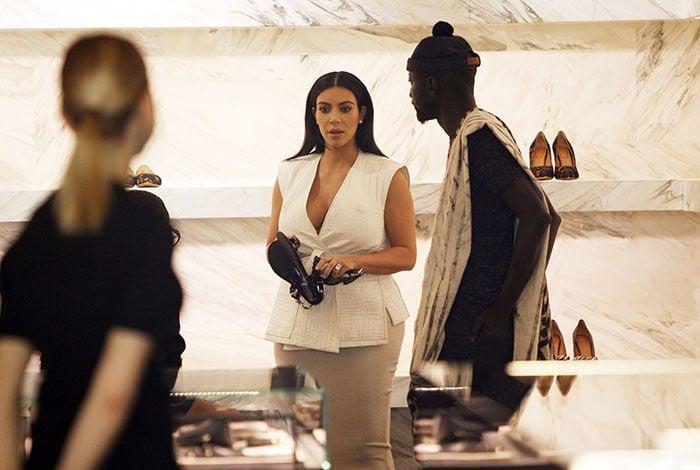 Kim Kardashian shopping at a boutique in Paris