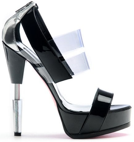 "The ""Robot"" sandals also come in black with clear plastics straps"