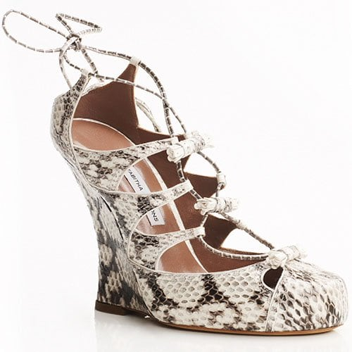 Tabitha Simmons Drusilla Snakeskin Wedge Pumps in natural and white