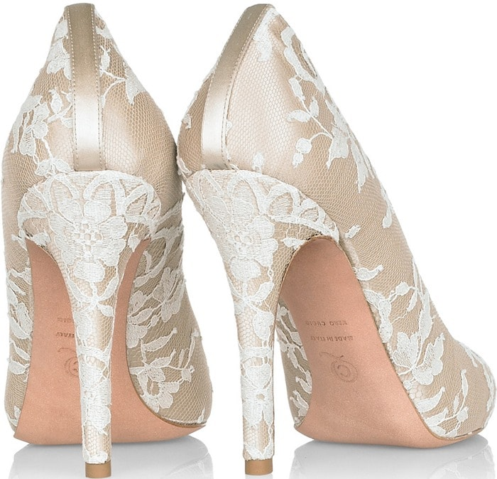 Alexander McQueen Lace-Covered Satin Pumps
