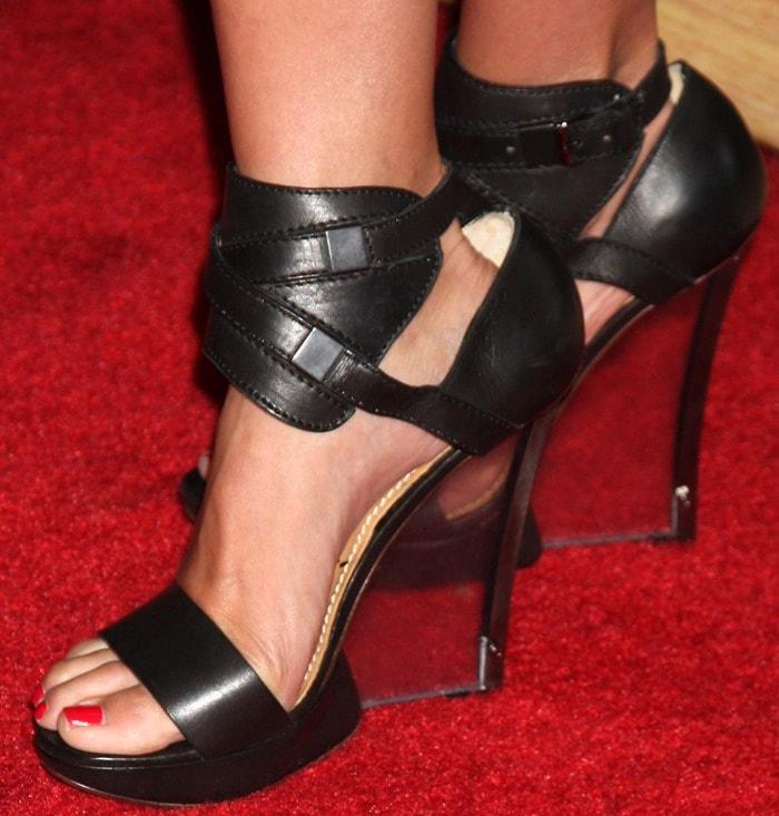 Cameron Diaz's feet inankle cuff plexi wedge sandals