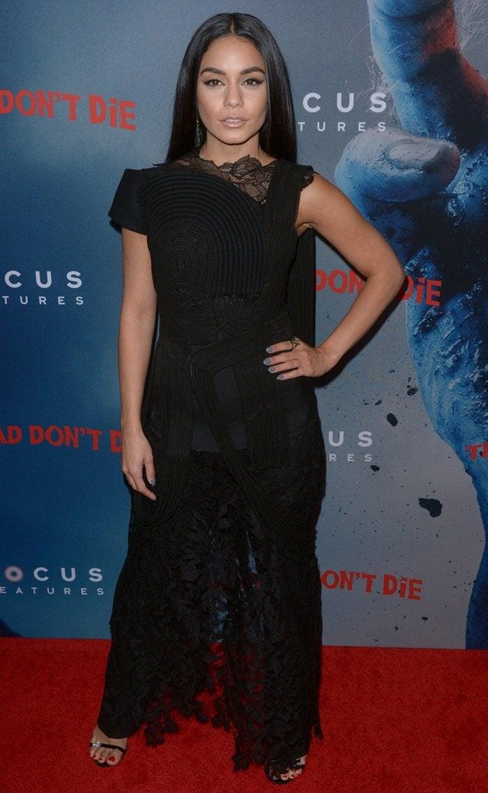 Vanessa Hudgens channeled Morticia Addams in a black lace Vera Wang Fall 2019 dress