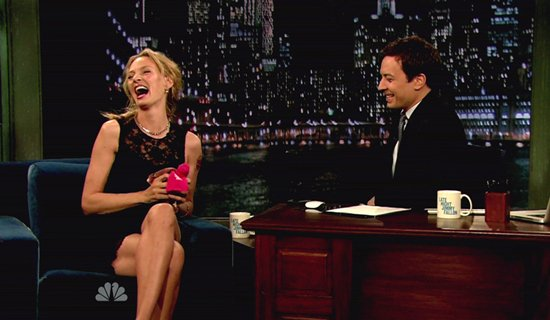Uma Thurman appears on NBC's 'Late Night with Jimmy Fallon' to promote her new film 'Ceremony' in New York City on April 8, 2011