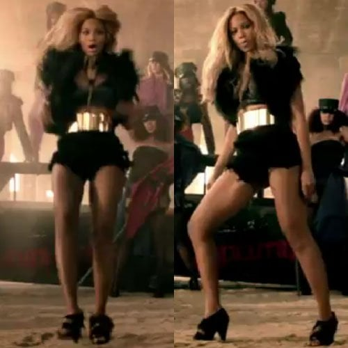 """Beyonce wears a pair of black fringe sandals from Ty Hunter in her music video for """"Run the World (Girls)"""""""
