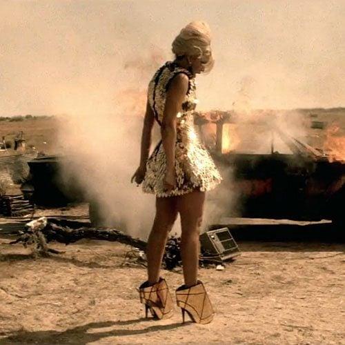 "Beyonce wears a Gareth Pugh dress and heels during her ""Run the World (Girls)"" music video"