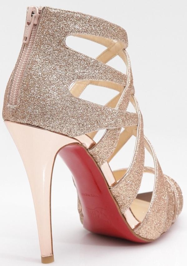 Christian Louboutin 'Balota' Glitter Leather Strappy Sandals