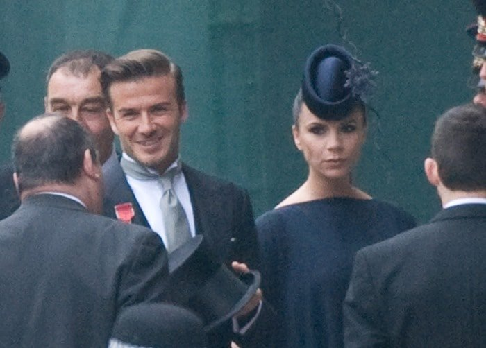 David Beckham and Victoria Beckham arrive to attend the Royal Wedding of Prince William to Catherine Middleton held at Westminster Abbey in London on April 29, 2011