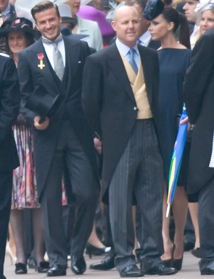 David Beckhamwearing a Ralph Lauren Purple Label 3-piece suit complete with classic coat tails