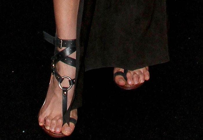 Karolina Kurkova's feet inEmilio Pucci crisscross ankle strap thong sandals