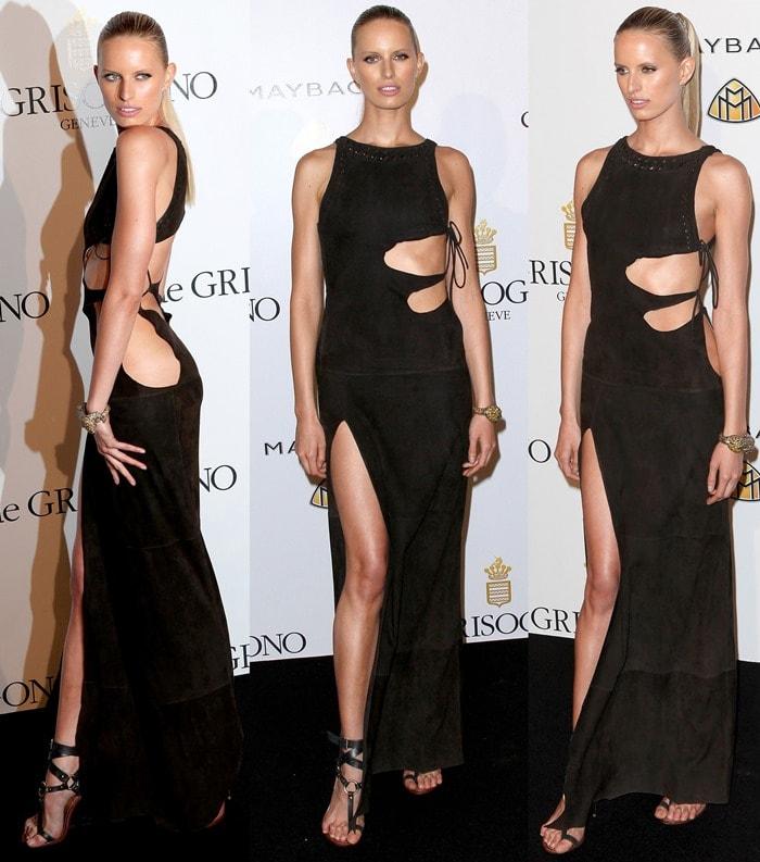 Karolina Kurkova's black suede Emilio Pucci Spring 2011 dress