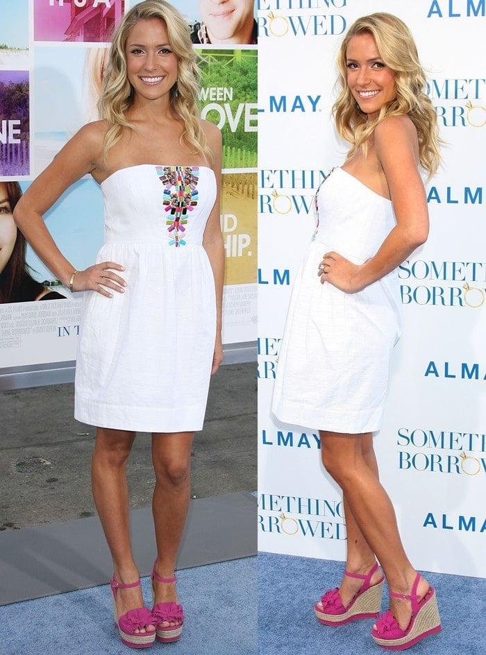 "Kristin Cavallari has designed a cute pair of wedges named ""Bardot"" for Kim Kardashian's ShoeDazzle"
