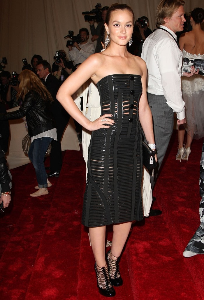Leighton Meester in Louis Vuitton Fall 2011 cage booties