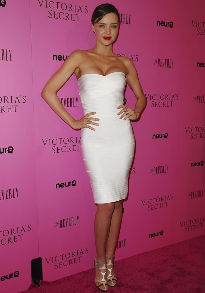 Miranda was white hot in a Herve Leger by Max Azria strapless bandage dress