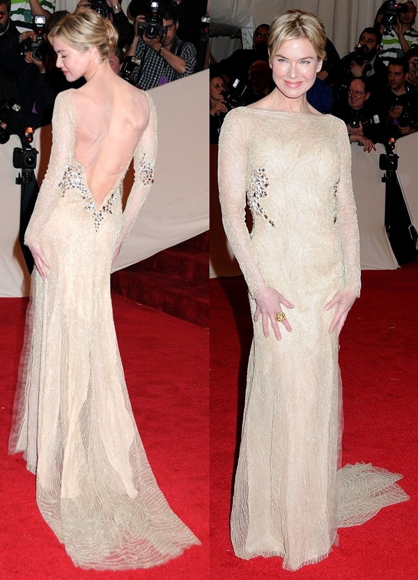 Renee Zellweger in a nude beaded dress at the Costume Institute Gala at The Metropolitan Museum of Art