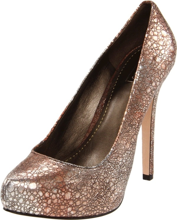 "Report Signature ""Gilles"" Platform Pumps in Bronze Leather"