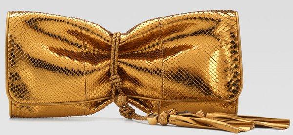 Gucci Malika Metallic Python Clutch