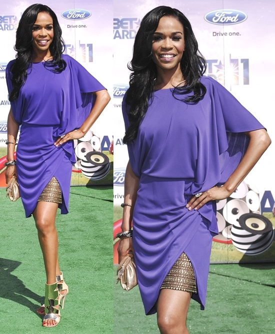 Michelle Williams poses on the green carpet at the 2011 BET Awards held at the Shrine Auditorium in Los Angeles, California on June 26, 2011