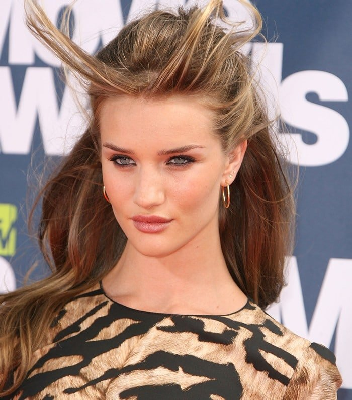 Rosie Huntington-Whiteley throws another sultry look from beneath windswept hair