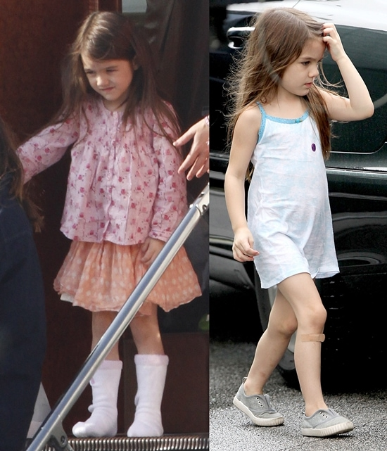 Suri Cruise boarding a private jet in Prague (September 24, 2010) and arriving on the set of Jack and Jill (October 20, 2010)