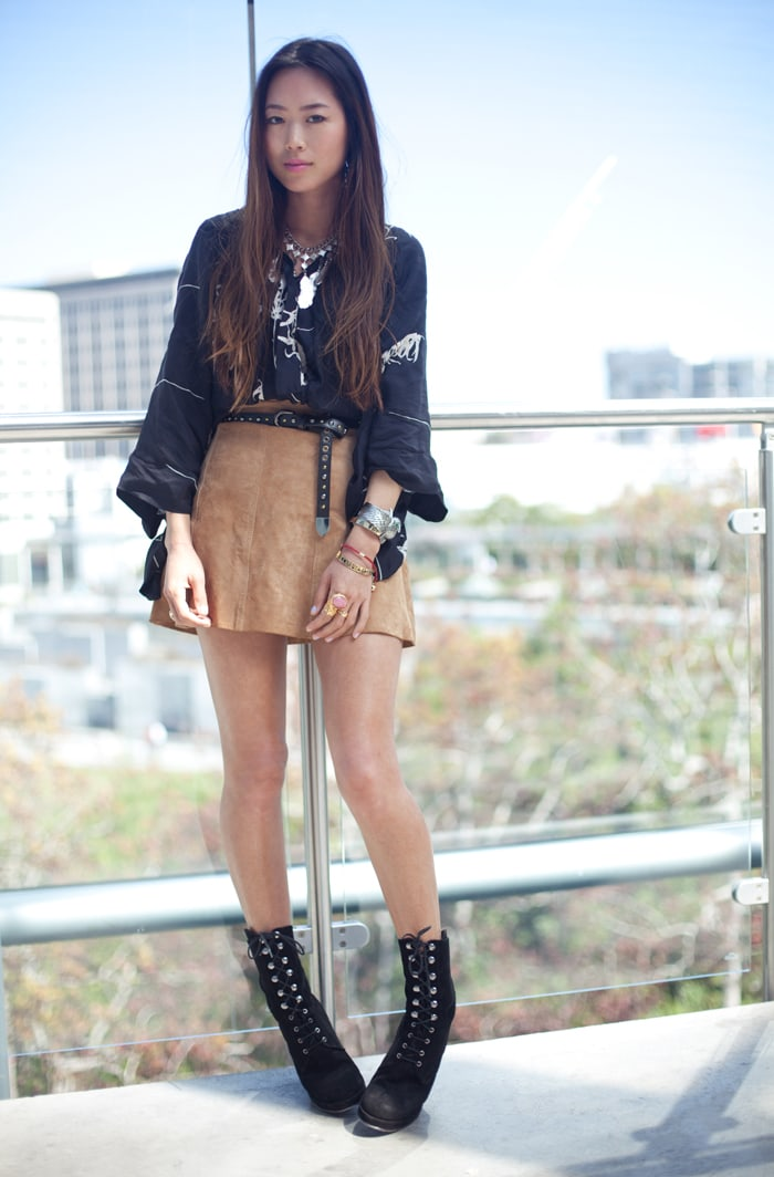 Aimee Song in her black Surface To Air 'Packer' wedge boots
