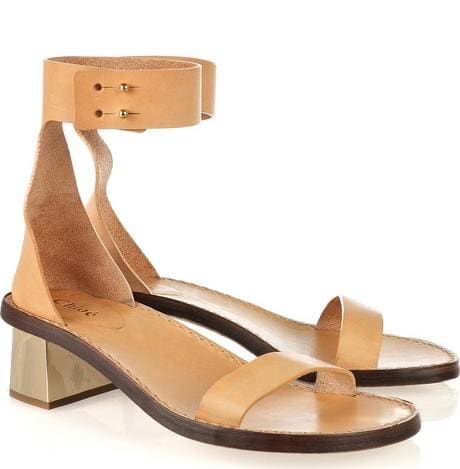 Chloe Mirrored-Heel Leather Sandals