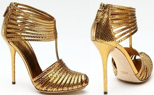 Gucci Inga Python T-Strap Platform Pumps in Gold