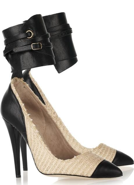 Isabel Marant 'Gava' Pumps in Cotton-Raffia and Leather