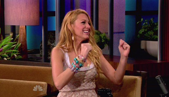 "Blake Lively chats it up with Jay Leno on ""The Tonight Show with Jay Leno"" on June 15, 2011"