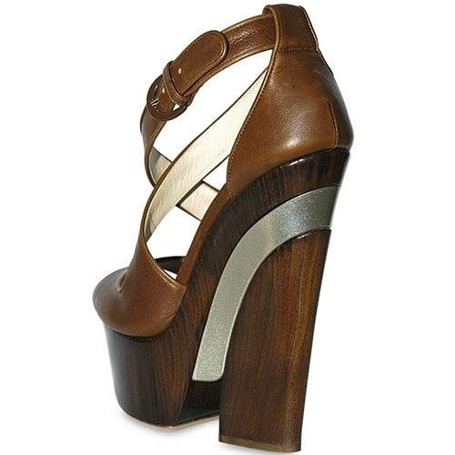 """Cross over calfskin sandals (5 3/4"""" heel and a 1 3/4"""" platform)"""